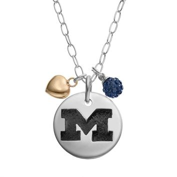 Fiora Crystal Sterling Silver Michigan Wolverines Team Logo & Heart Pendant Necklace (Blue)