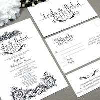 Victorian Scroll | Wedding Invitation Suite by RunkPock Designs | Formal Vintage Gothic Swirl Calligraphy Invitation Set shown in classic Black and White