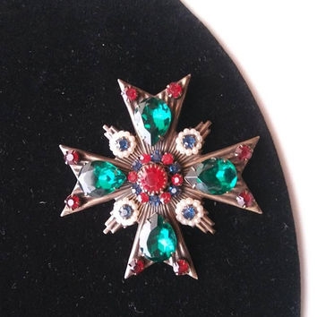 ON SALE Vintage Rhinestone Maltese Cross High End Hard To Find Collectible 1960's Vintage Red Green Faux Pearl Jewelry