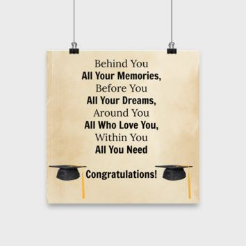 "Class of 2017 Graduation Inspirational 12"" Poster-Wall Art-Motivational Hanging Great Decor"