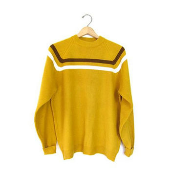 Vintage Golden Rod Yellow Sweater 60s Mod Mock Neck Jumper Womens Mens Preppy Raglan pullover Boyfriend knit Sweater size Medium Large