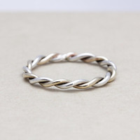 Two tones Twisted stacking ring with 14k gold filled and 925 sterling silver
