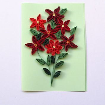 Quilling Card with Quilled Red Posies