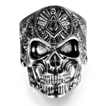 Fashion Stainless Steel Masonic skull rings Men's High Quality Personality Punk Ring Biker Hiphop rock Jewelry gift for men