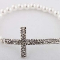 2 Pieces of Silver with White Simulated Pearl Beaded Iced Out Cross Bracelet Shamballah