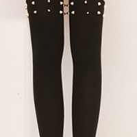 Black Beige Gold Pointed Spike Studs Two Tone Thigh High Pantyhose Stockings