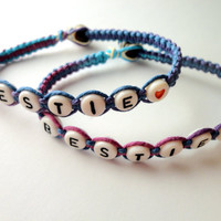 Friendship Bracelet Set, Purple Haze Macrame Hemp, Besties Bracelets