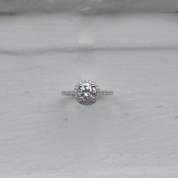 Brilliant Halo Engagement Ring - Cubic Zirconia Promise Ring - Thin Halo Setting - Silver Engagement - CZ Solitaire Ring - Wedding Ring