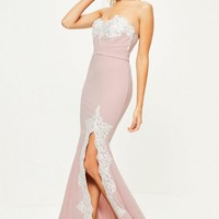 Missguided - Pink Crepe Lace Maxi Dress