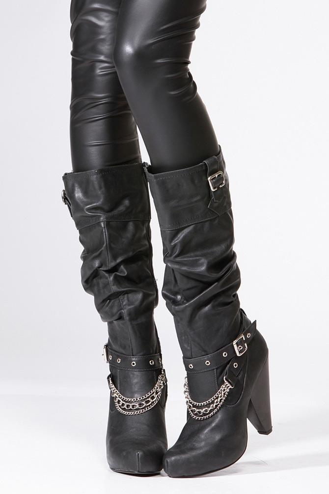19e4c2d5f73 Qupid Black Chain Knee High Boot @ from CICI HOT | fashion shoes