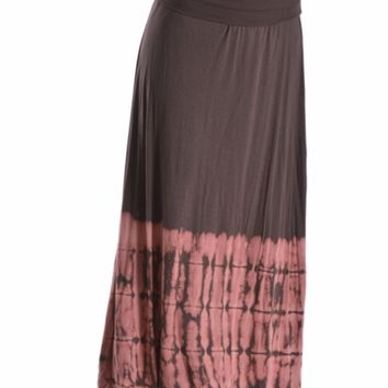 Tie Dye Color Block Maxi Skirt