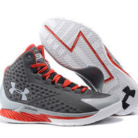 Men's Under Armour Stephen Curry One Grey Red Basketball Shoes