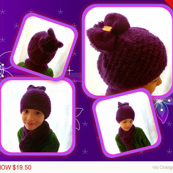 Sale -  Purple PomPom Hat Scarf Gift Set Beanie Hat Ballerina Bun Hat Girls 3-10 Year Old Handmade Hat Gift Idea Holiday Gift