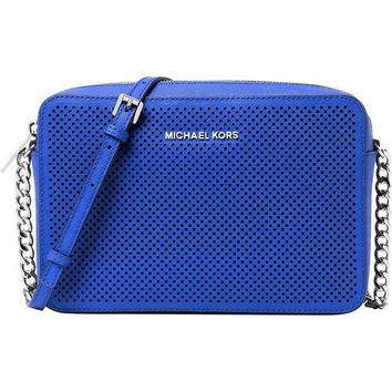 Michael Kors Women's Jet Set Crossbody Leather Bag, Electric Blue Perforated, Large