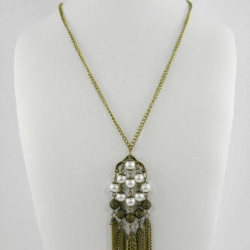 Victorian Style Gold and Pearl Tassel Fringed Chandelier Statement Necklace