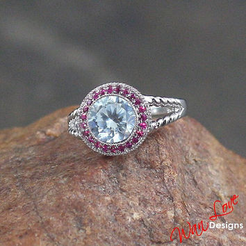 Ruby/Pink Sapphire Cubic Zirconia ring white-yellow-rose gold-Custom made your size-Wedding-Engagement-Anniversary-Layaway 14k