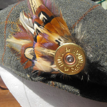 Shotgun Shell Feather Brooch, feather hat pin, pheasant feather brooch, mens lapel pin, wedding