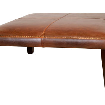 "Weldon 40"" Leather Ottoman, Saddle, Ottomans"