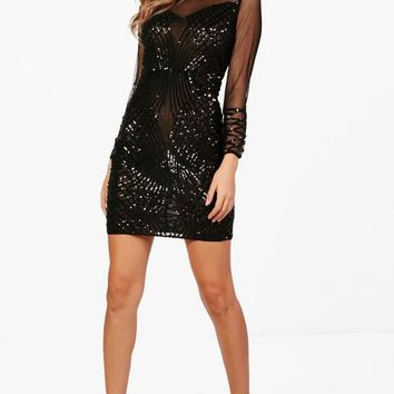 Boutique Sequin and Mesh Bodycon Dress | Boohoo
