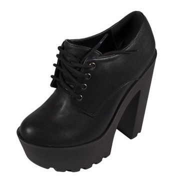Soda Women's Matrix Lace-up Platform Ankle Bootie with Thick Chunky Heels in Black Leatherette