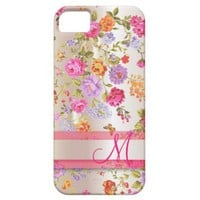 Vintage Floral Pearl Satin Monogrammed iPhone 5 Cases from Zazzle.com