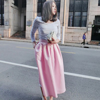 Spring summer pleated flared skirt/pink bubble skirt/calf-length skirt/Vintage satin skirt/women long skirt/party skirt/chic skirt