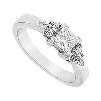 14K White Gold Semi Mount Engagement Ring with 0.16 Carat Diamonds Not Included Center Diamond