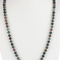Green Long Natural Stone Bead Necklace