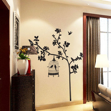 Black branches and black bird sitting room household adornment wall stick mobile stick on the wall SM6
