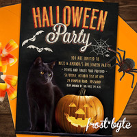Halloween Party Invitation - Chalkboard style with black cat - personalized file with your part details - digital file to print yourself