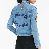 Rolla's Have A Nice Day Embroidered Denim Jacket