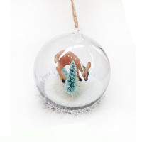 Winter Fawn Globe Ornament