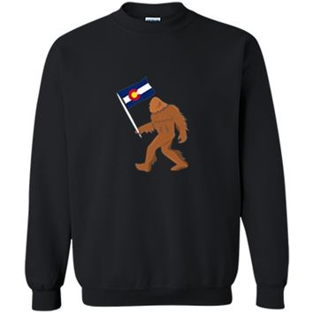 Bigfoot Fourteeners Colorado Apparel Colorado Flag T shirt Printed Crewneck Pullover Sweatshirt