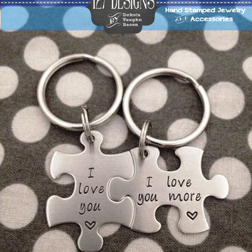Personalized Puzzle Piece Key chain set I love you, I love you more. Made with 22 gauge stainless steel