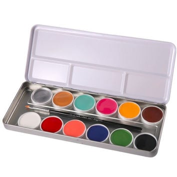 Party Use 12 Colors Body Paint Flash Tattoo Face Oil Painting Art Silver Iron Palette for Adult and children Beauty Makeup Tools
