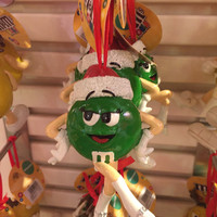 M&M's World Green Santa Christmas Ornament New with Tags