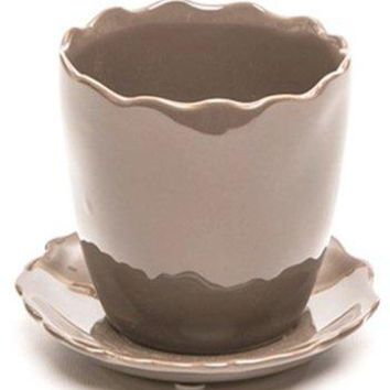 "Deroma 5700600A Ceramic Kaula Bud Planter with Saucer 3.9"", Brown"