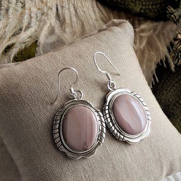 One of a Kind Sterling Silver Banded Agate Dangle Earrings