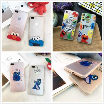 LMFUS4 Lucky cute cartoon cat cookie monsters elmo transparent frosted phone case  5 5s for iphone 7 7plus 6 6s plus full cover 6plus