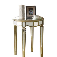 """Brushed Silver/Mirrored 24"""" Scalloped Accent Table"""