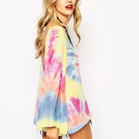 Rat & Boa Backless Festival Bell Sleeve Dress In Tie Dye