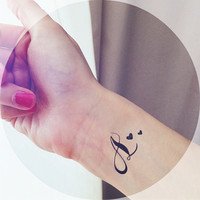 "2pcs ""A"" Initial tatoo with star or heart tattoo  - InknArt Temporary Tattoo -  script couple lover temporary tattoo wrist neck ankle"