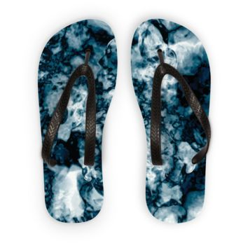 Black and White Swirling Smoke Flip Flops