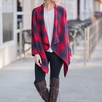 Play All Day Plaid Drape Front Jacket (Red/Navy)