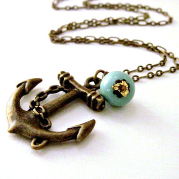 Anchor Necklace Nautical Necklace Beach Wedding Turquoise Charm Necklace Resort Jewelry - Sweet Anchor