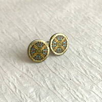 Compass Earrings, silver stainless steel posts studs vintage small pierced stud post 12mm hypoallergenic travel gift for her