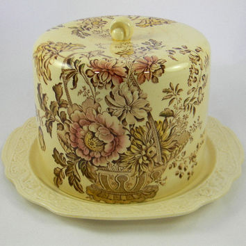 Vintage Charlotte Brown English Transferware Cheese Bell / Cheese Dome with Matching Embossed Platter Victorian Basket of Flowers