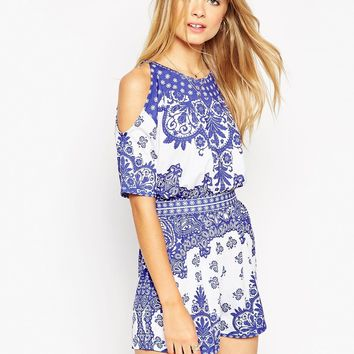ASOS Cold Shoulder Playsuit in China Blue Print