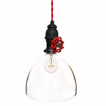 "8"" Clear Blown Glass Upcycled Valve Pipe Pendant Light- Red Cloth Cord"
