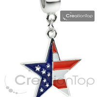 Bead for any Pandora bracelet, dangle bead with a star dangle and American flag stamped on